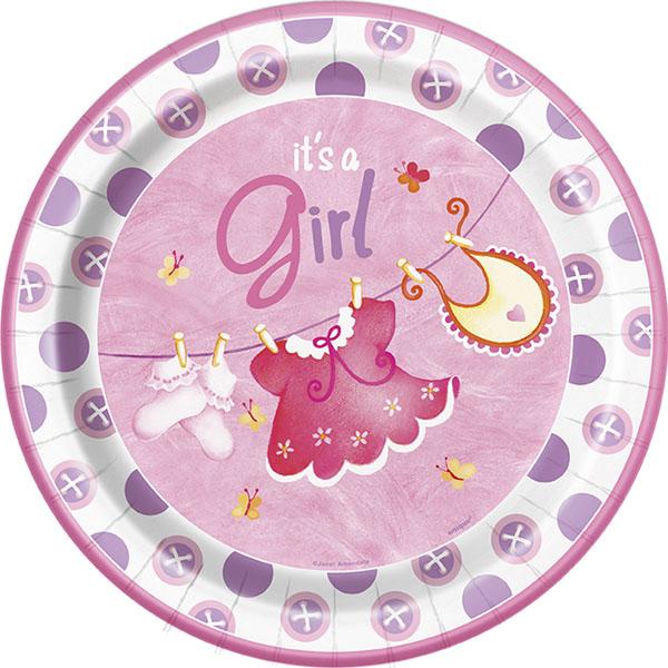 It's a Girl Baby Shower Papptallrikar