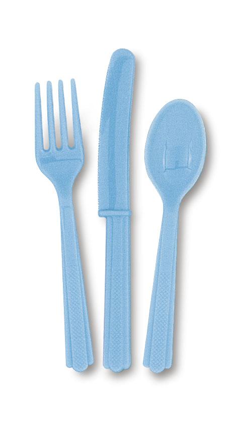 Ljusblå Plastbestick