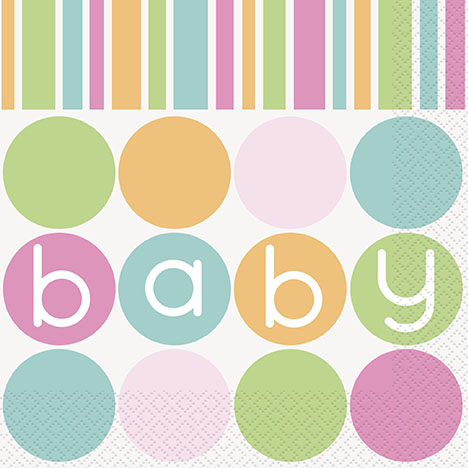 Pastell Baby Shower Servetter