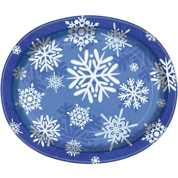 Winter Snowflake Oval Papptallrikar