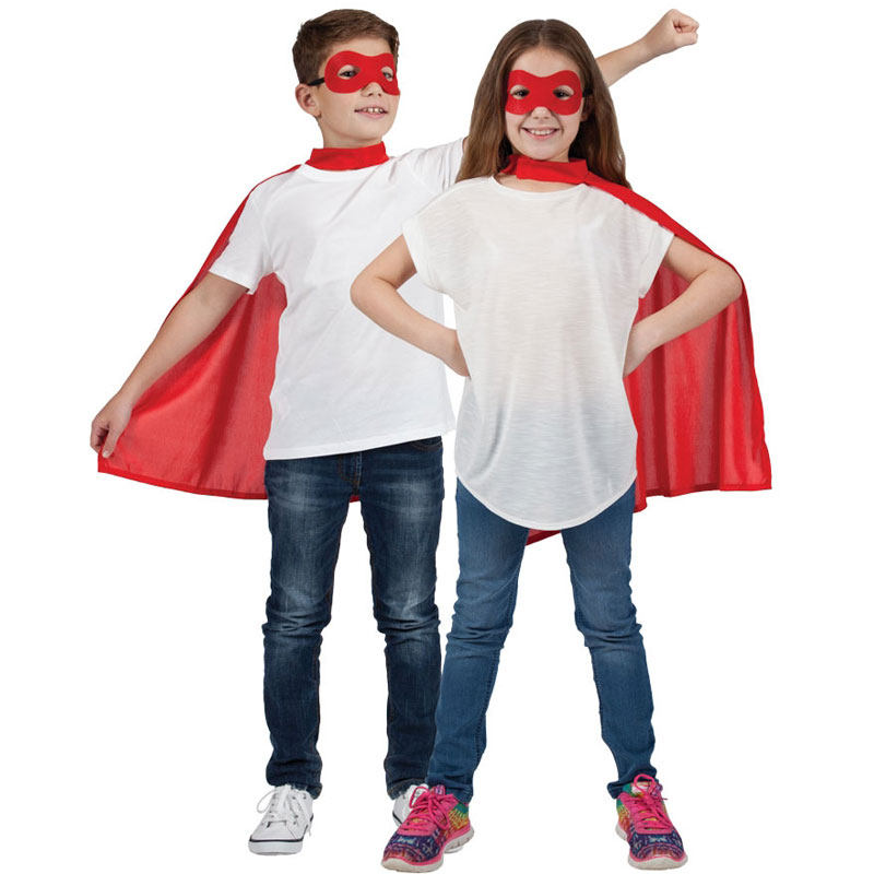 Superhjälte Röd Mantel med Ögonmask Barn