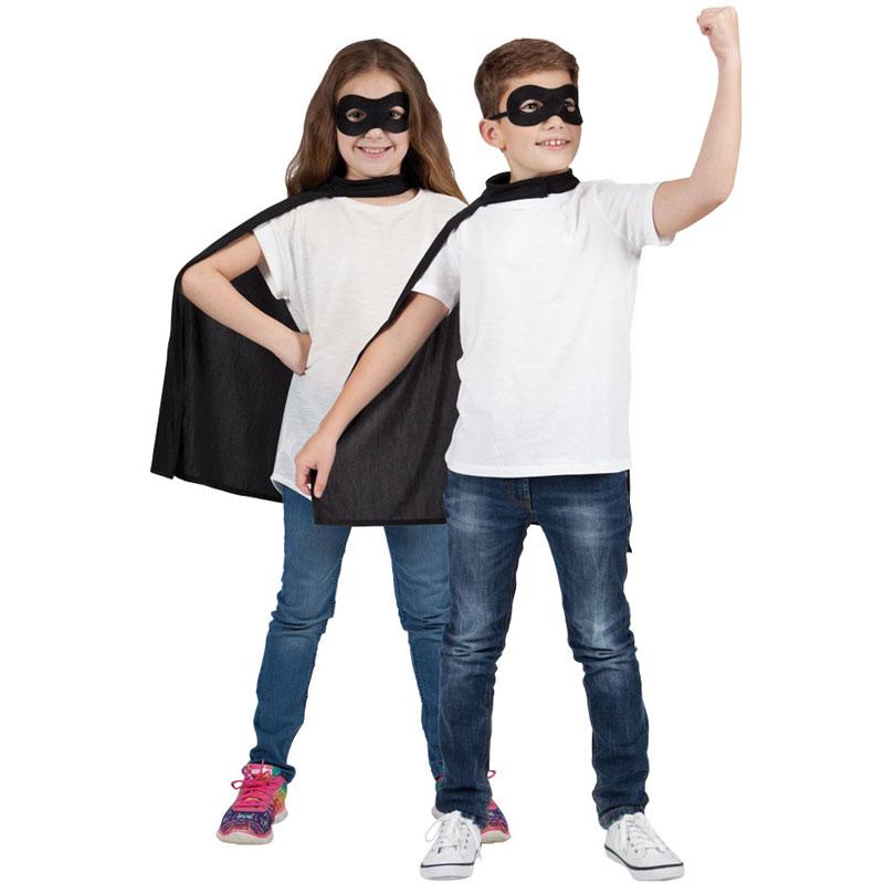 Superhjälte Svart Mantel med Ögonmask Barn