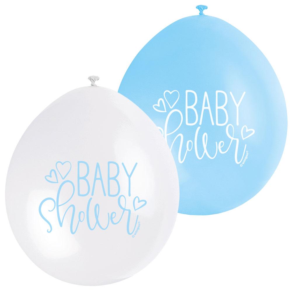 Baby Shower Ballonger Blå och Vit