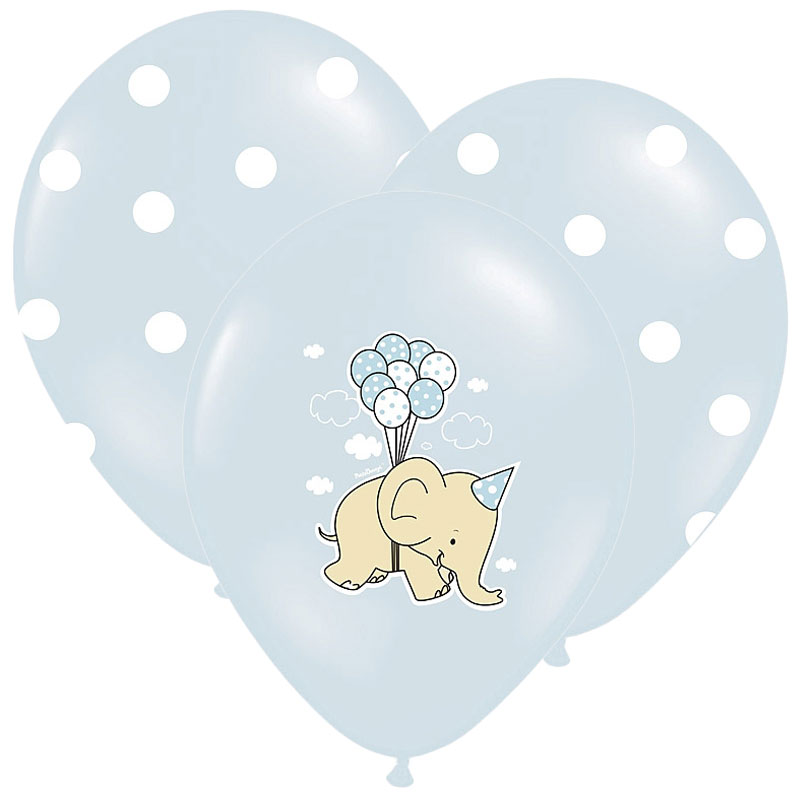 Baby Shower Ballonger Elephant Mix Blå