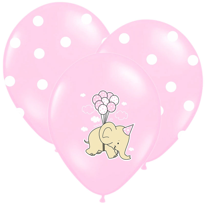 Baby Shower Ballonger Elephant Mix Rosa