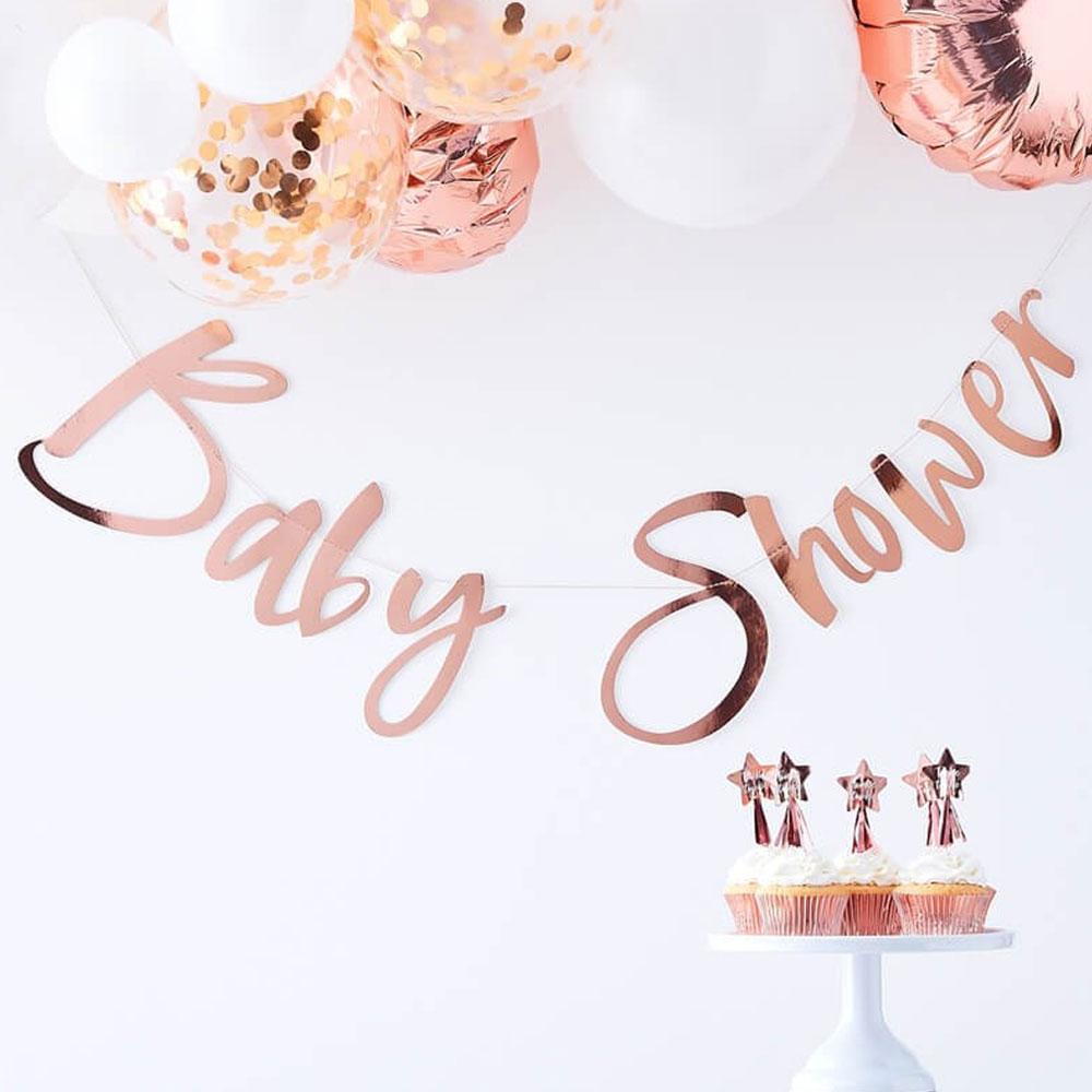 Baby Shower Banderoll Roséguld