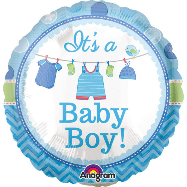 Baby Shower Its a Baby Boy Ballong Folie Rund