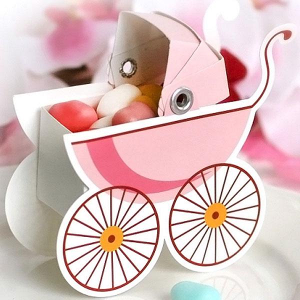 Baby Shower Presentaskar Barnvagn Rosa