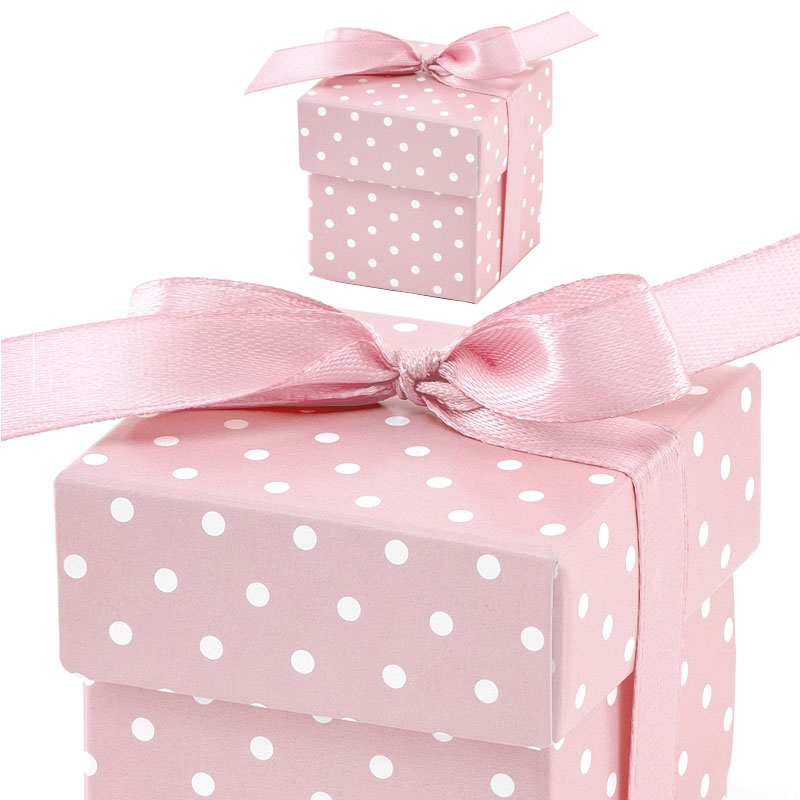Baby Shower Presentaskar Rosa Polka Dot