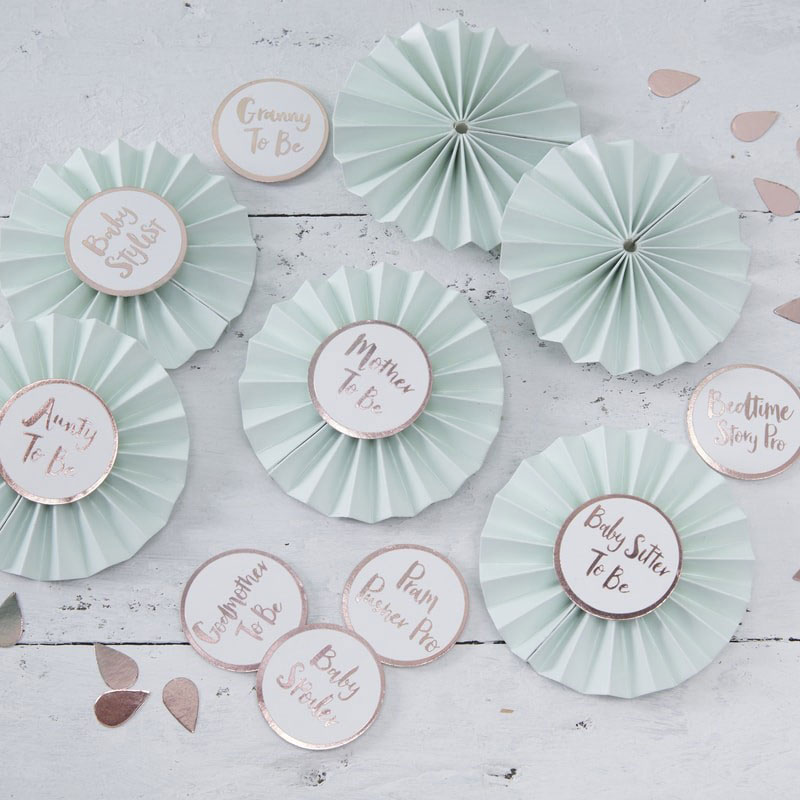 Baby Shower Prydnadsnålar Mintgrön & Roseguld