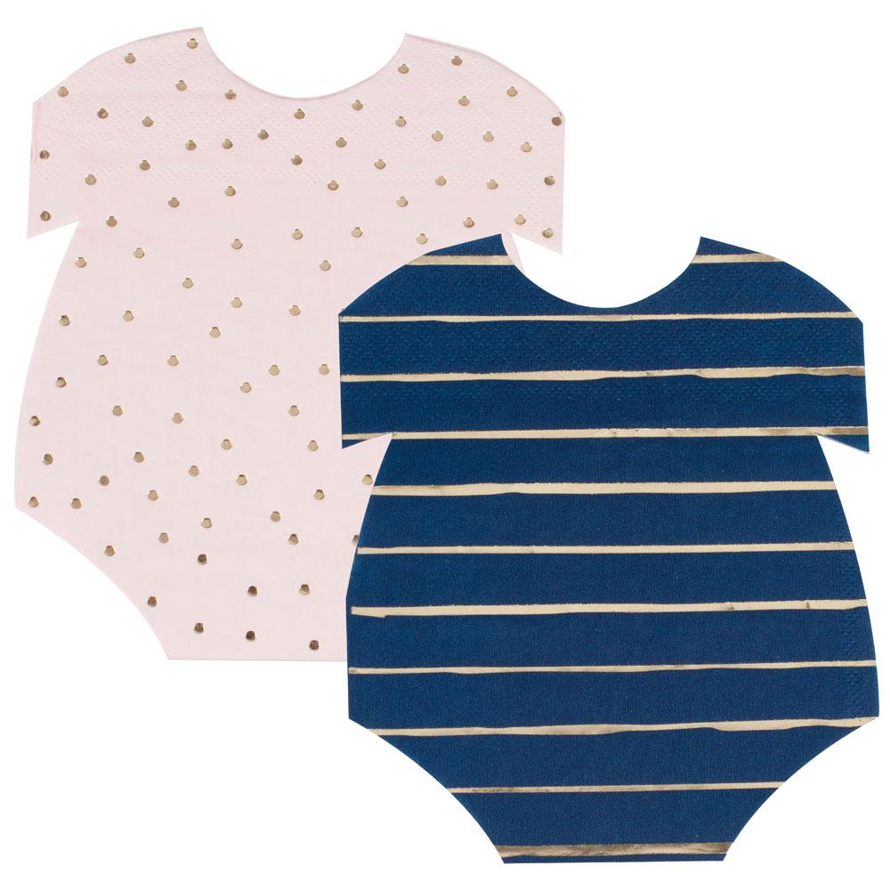 Baby Shower Servetter Pastell Ljusrosa & Marinblå