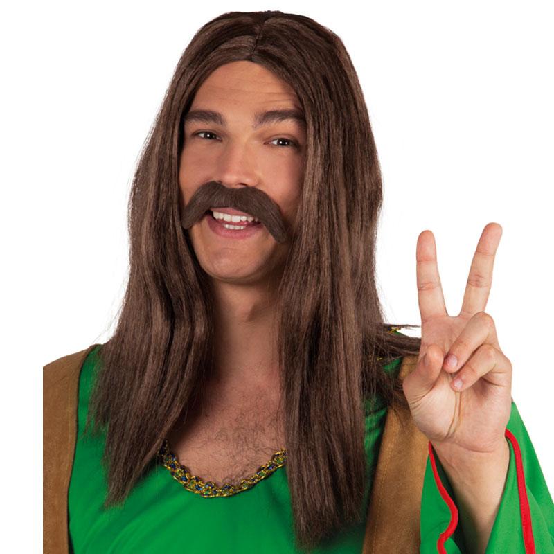 Brun Hippie Mustasch