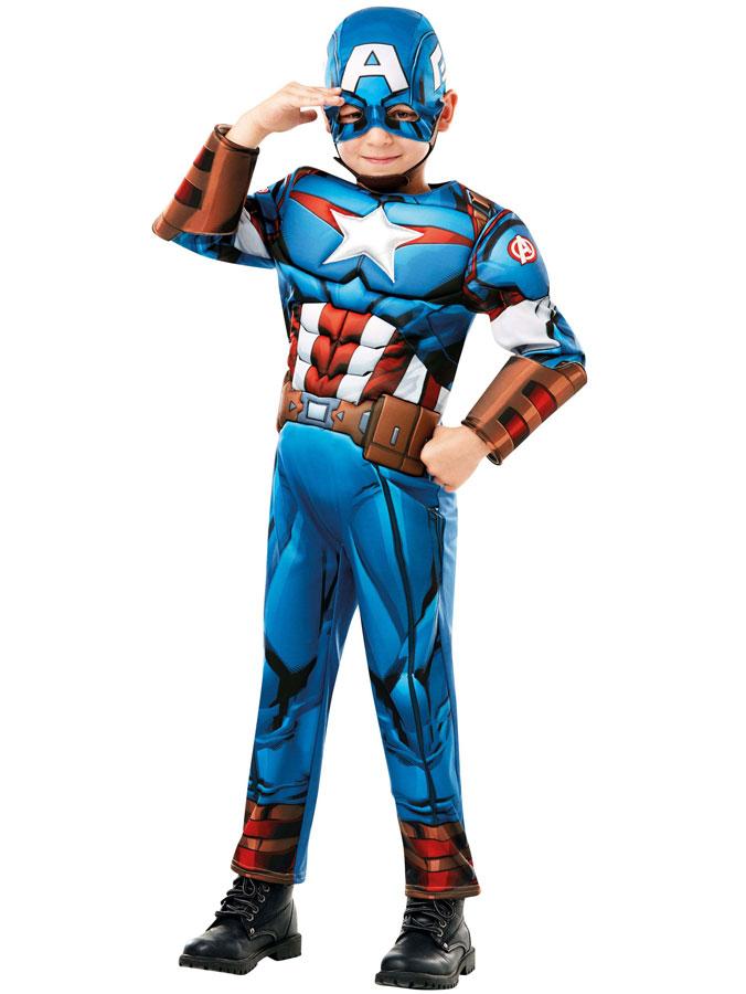 Captain America Maskeraddräkt Deluxe Barn (Small (3-4 år))