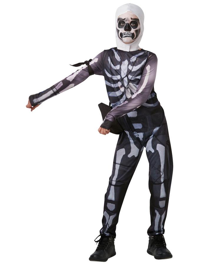 Fortnite Skull Trooper Maskeraddräkt Barn (Small (9-10 år))