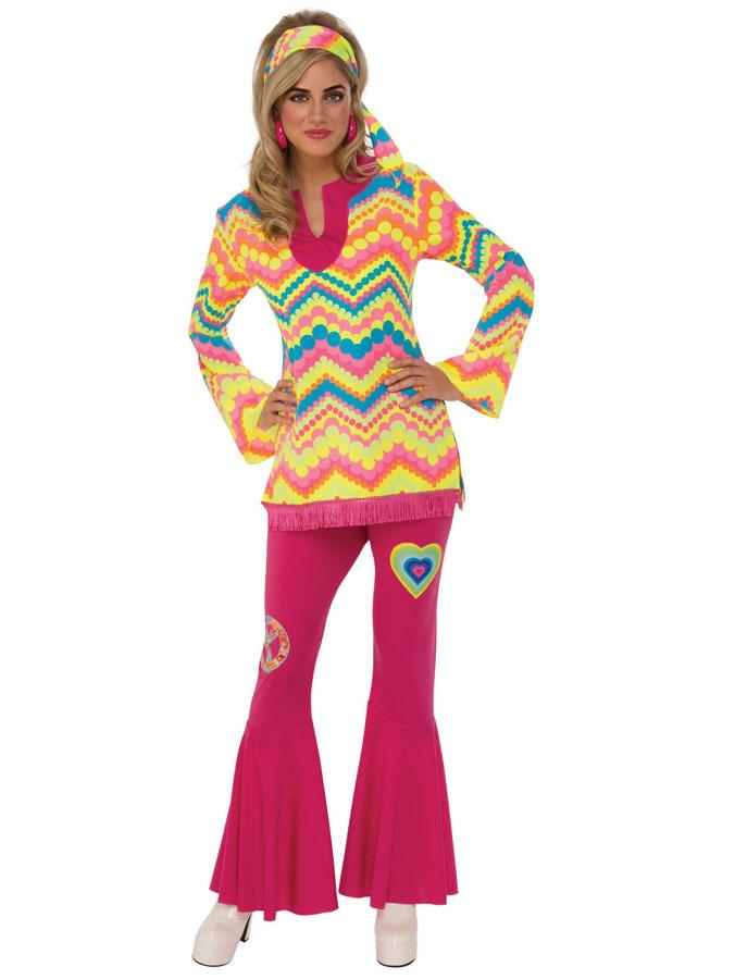 Hippie Girl 70-tals Maskeraddräkt (Small (Strl. 36-38))
