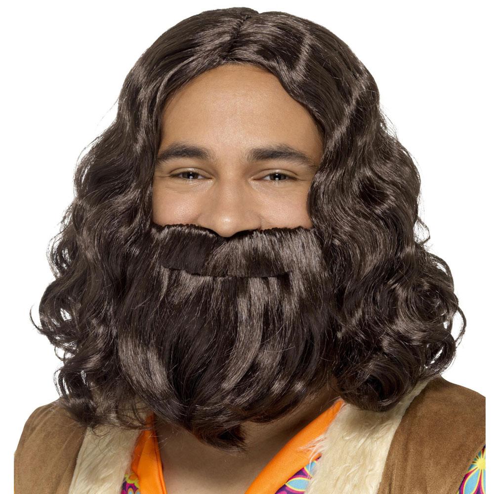 Hippie Jesus Peruk med Skägg