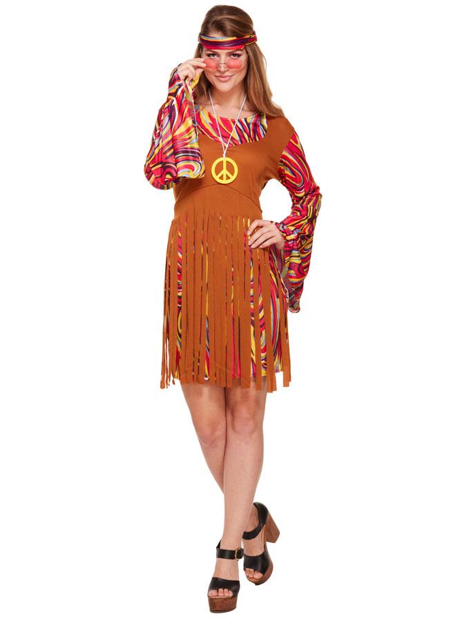 Hippie Klänning med Fransar Maskeraddräkt