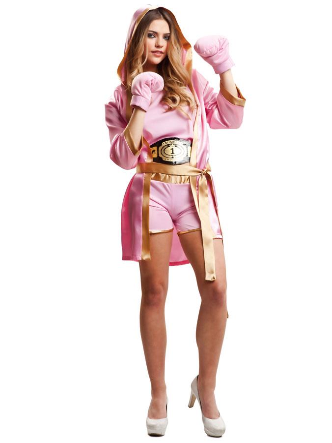 Kvinnlig Boxare Rosa Maskeraddräkt