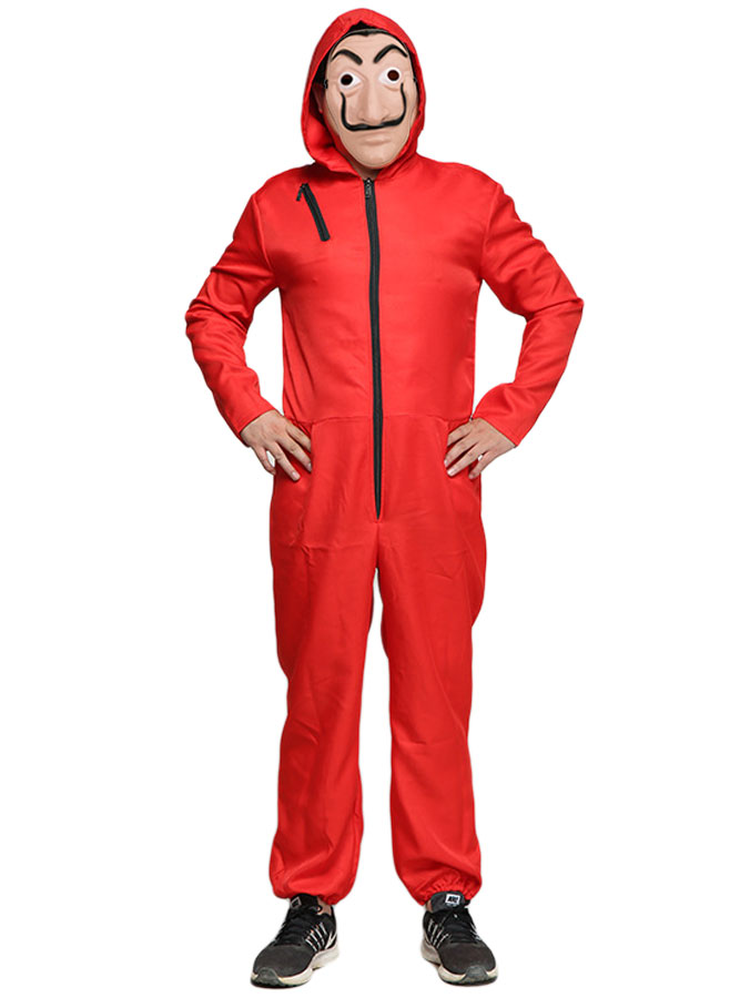 Röd Jumpsuit Maskeraddräkt (Medium (Liten i storleken))