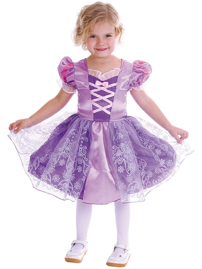 Lila Prinsessklänning Barn (Small (92-104 cm))