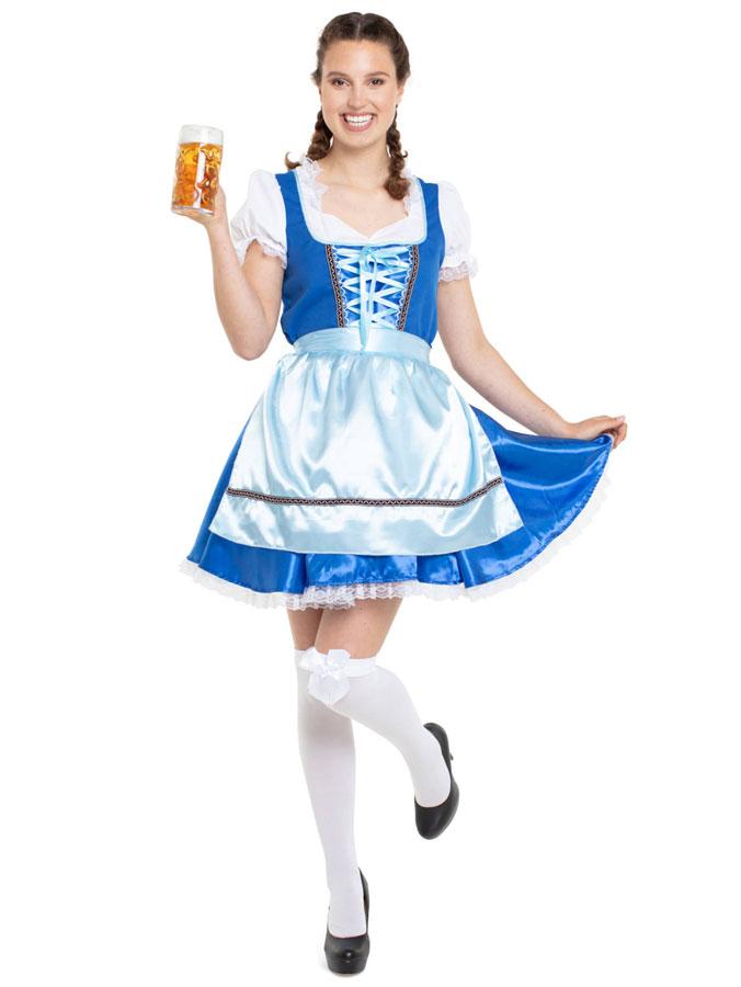 Oktoberfest Dirndl Klänning Blå Deluxe