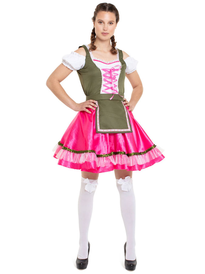 Oktoberfest Dirndl Klänning Rosa Deluxe (Small/Medium (str. 36-38))