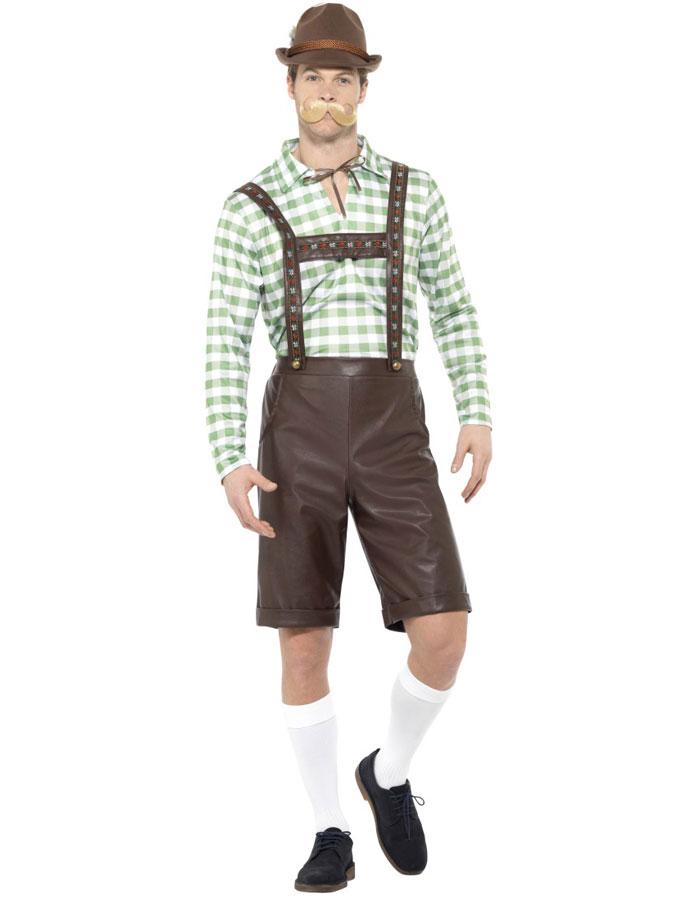 Oktoberfest Dräkt Läder Lederhosen Grön & Brun