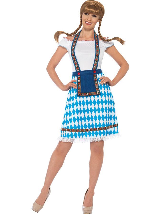 Oktoberfest Klänning Bayern Maskeraddräkt (Small (str. 36-38))