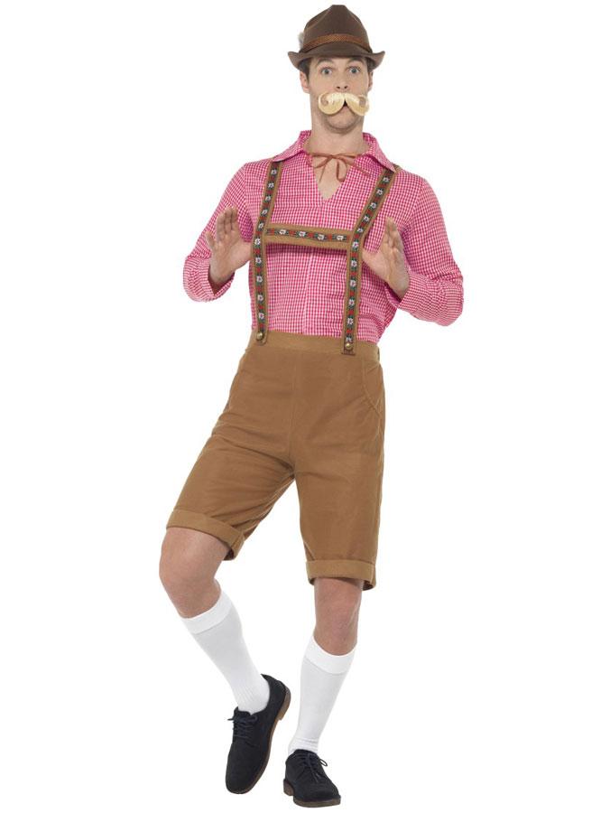 Oktoberfest Lederhosen Dräkt Ljusbrun