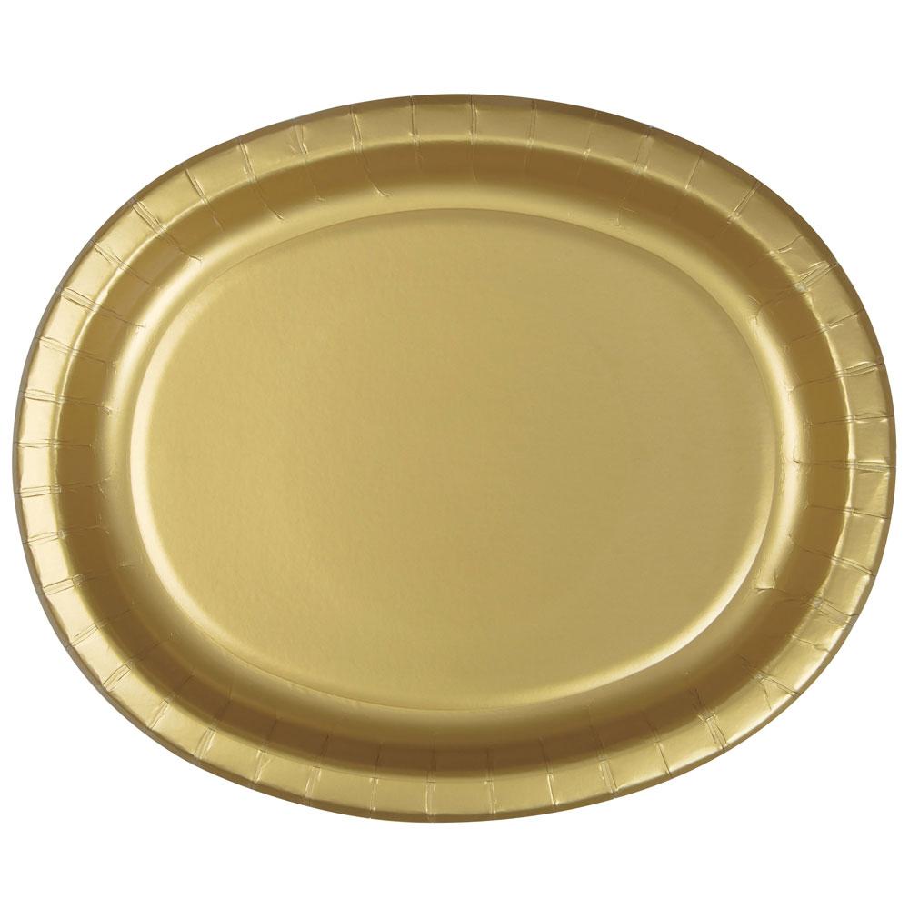 Papperstallrikar i Guld Oval