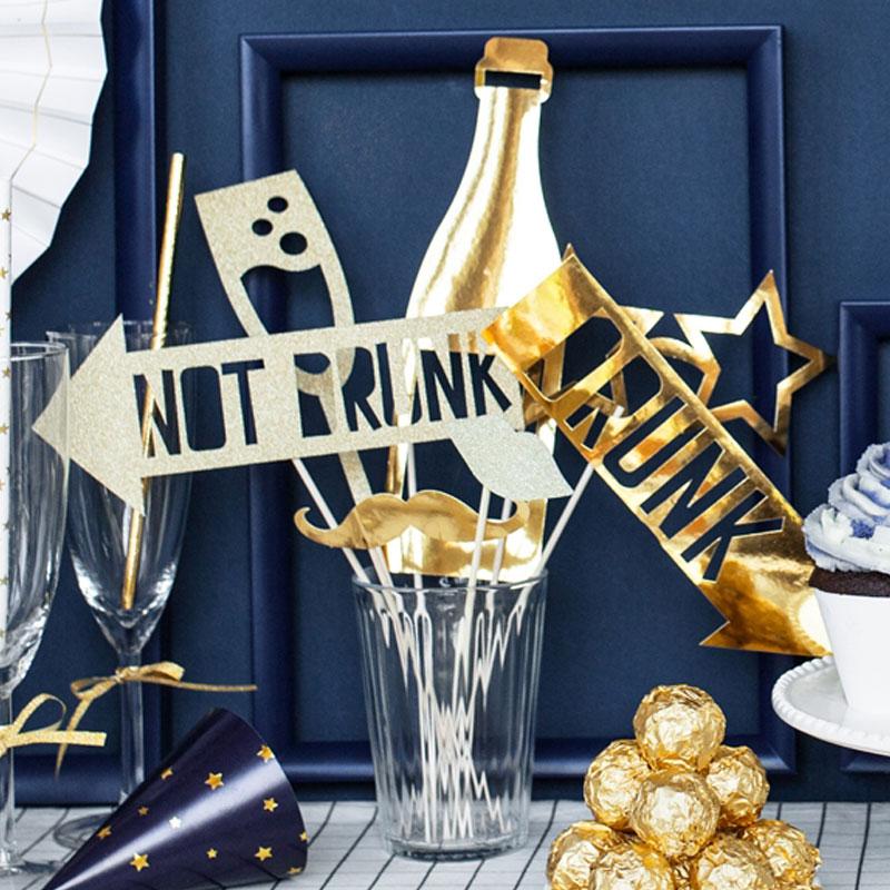Photo Props Nyår Guld och Glitter