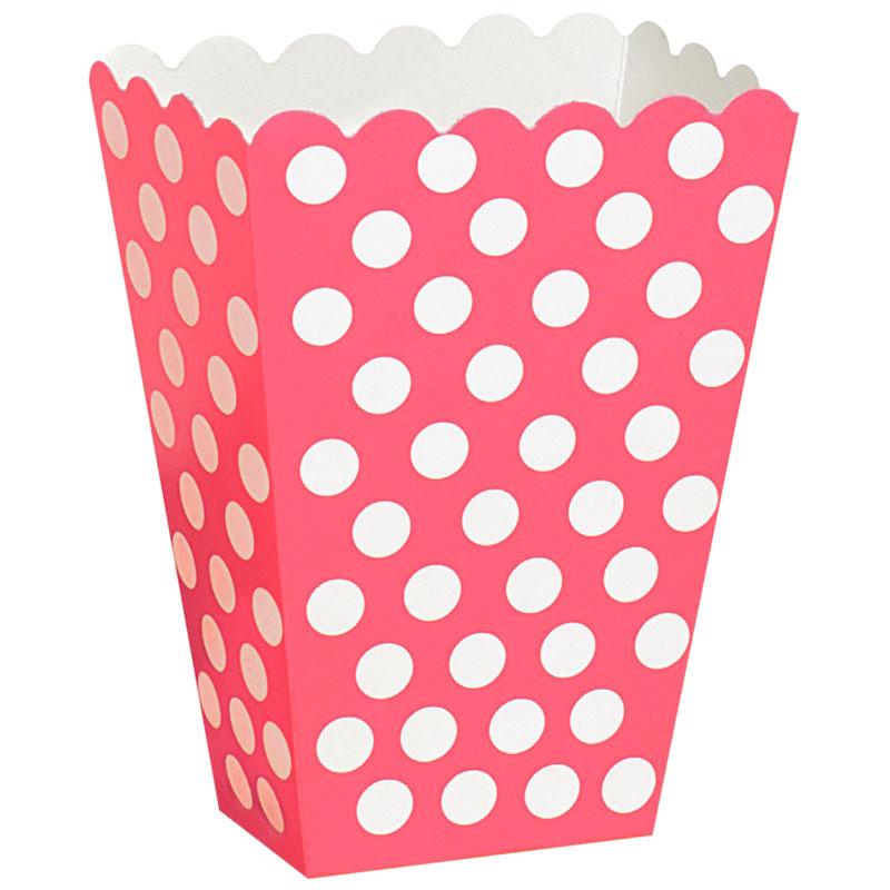 Popcornbägare Rosa/Vitprickiga