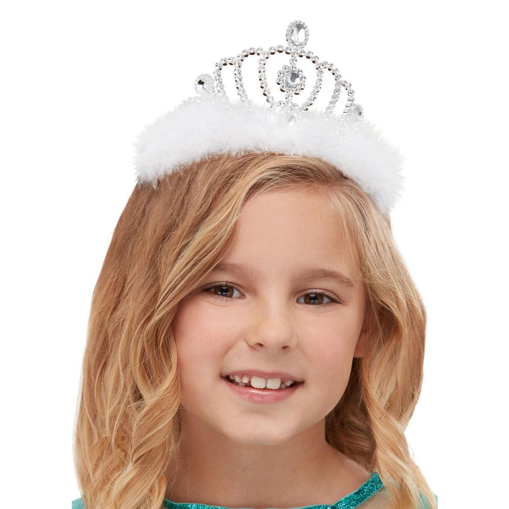 Silvrig Prinsesskrona med Fluff Barn