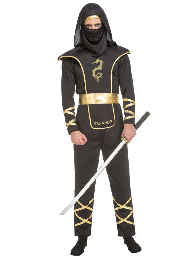Svart Ninja Maskeraddräkt (X-Small)
