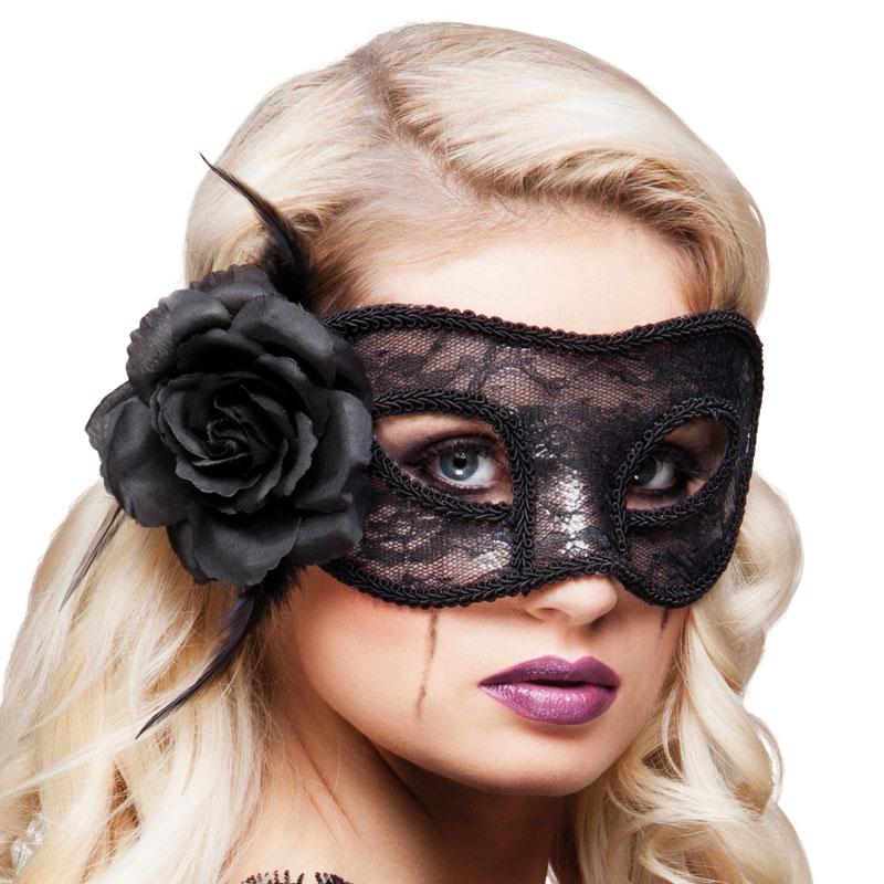 Svart Spets Mask med Blomma