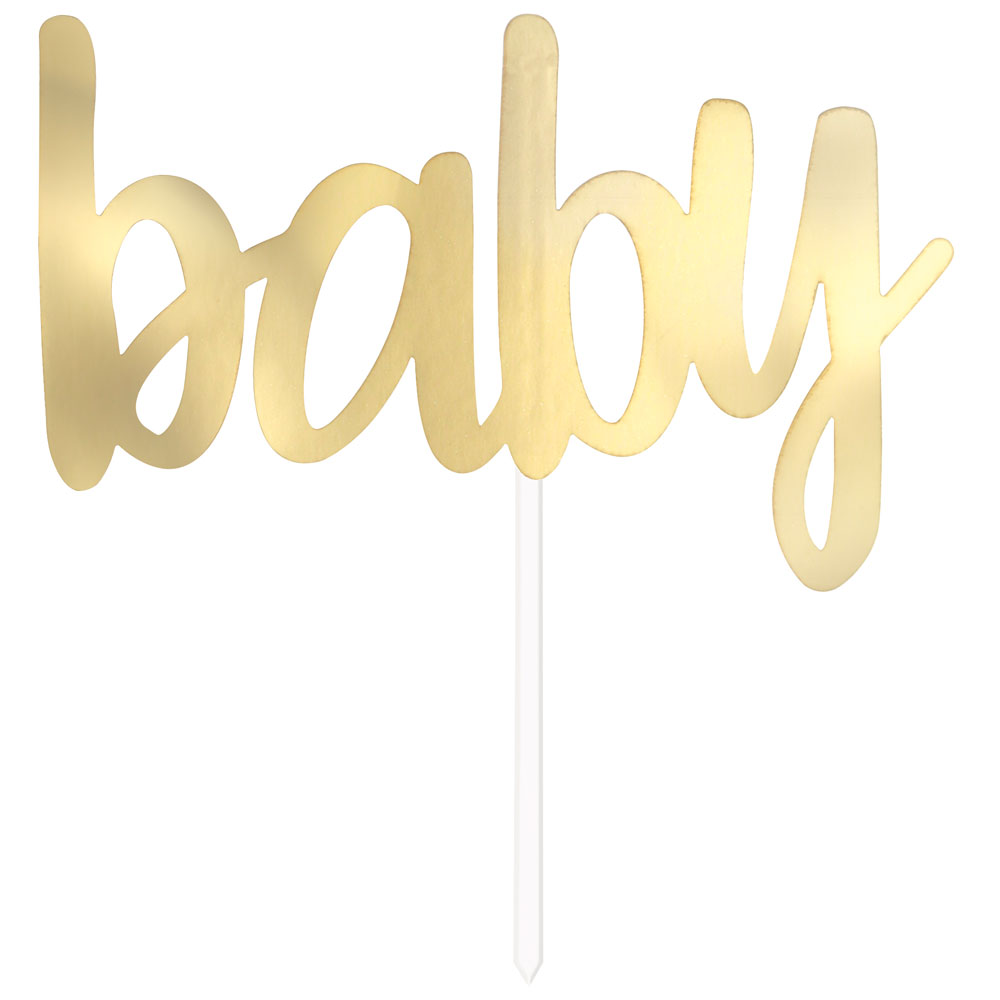 Tårtdekoration Baby Guld