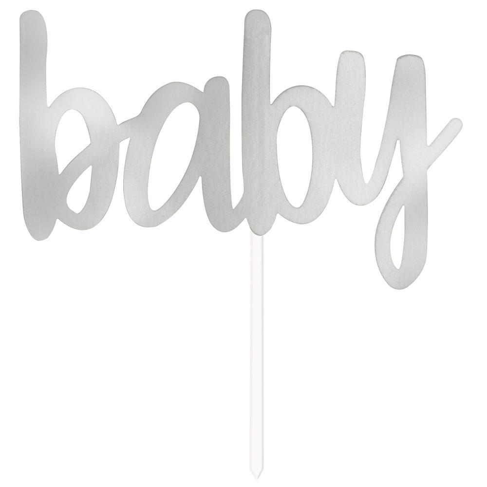 Tårtdekoration Baby Silver