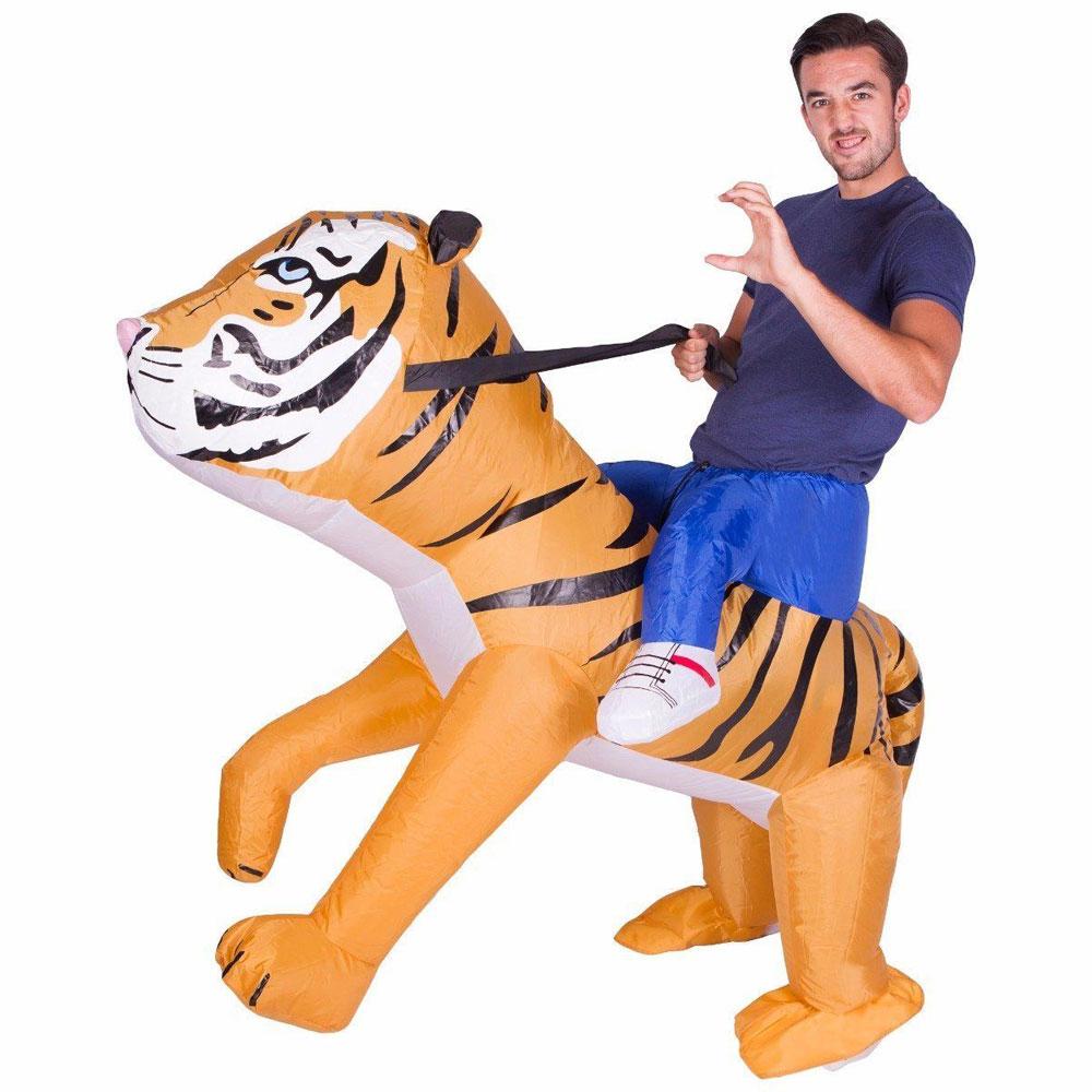 Uppblåsbar Ridande Tiger Maskeraddräkt