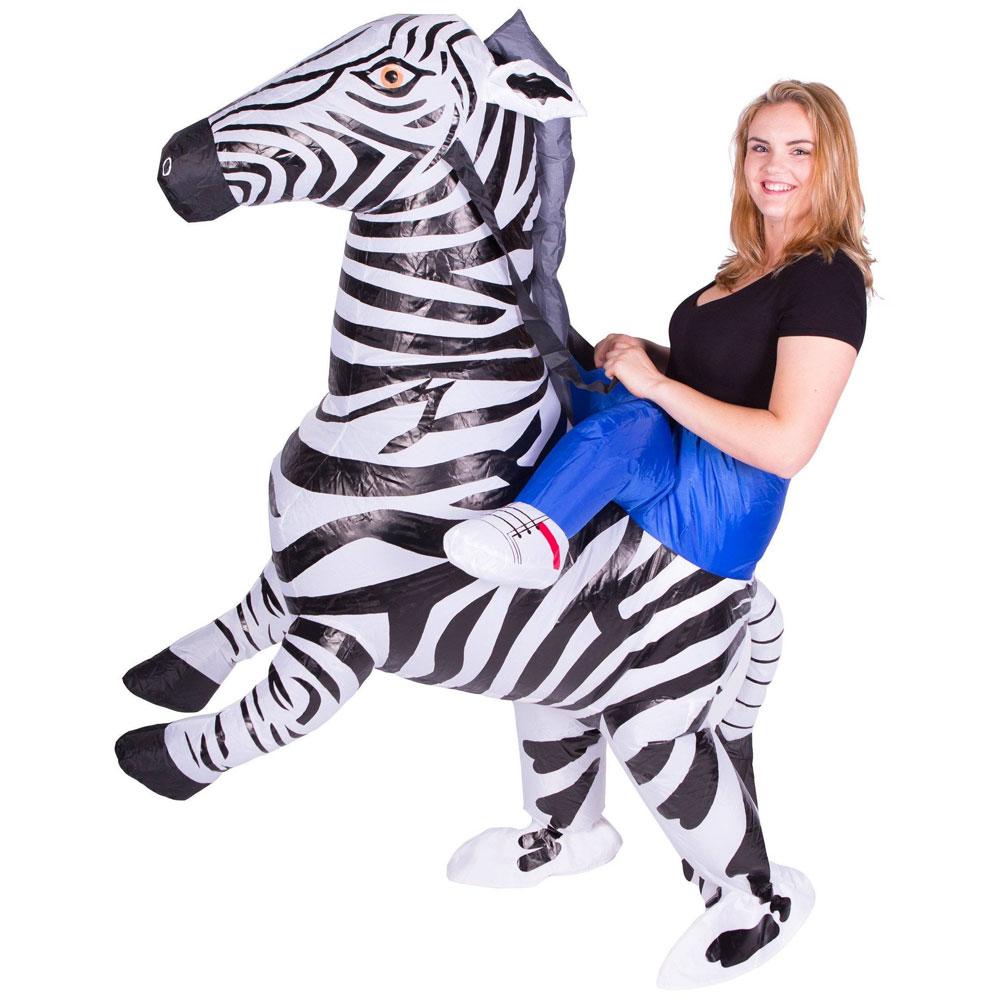 Uppblåsbar Ridande Zebra Maskeraddräkt