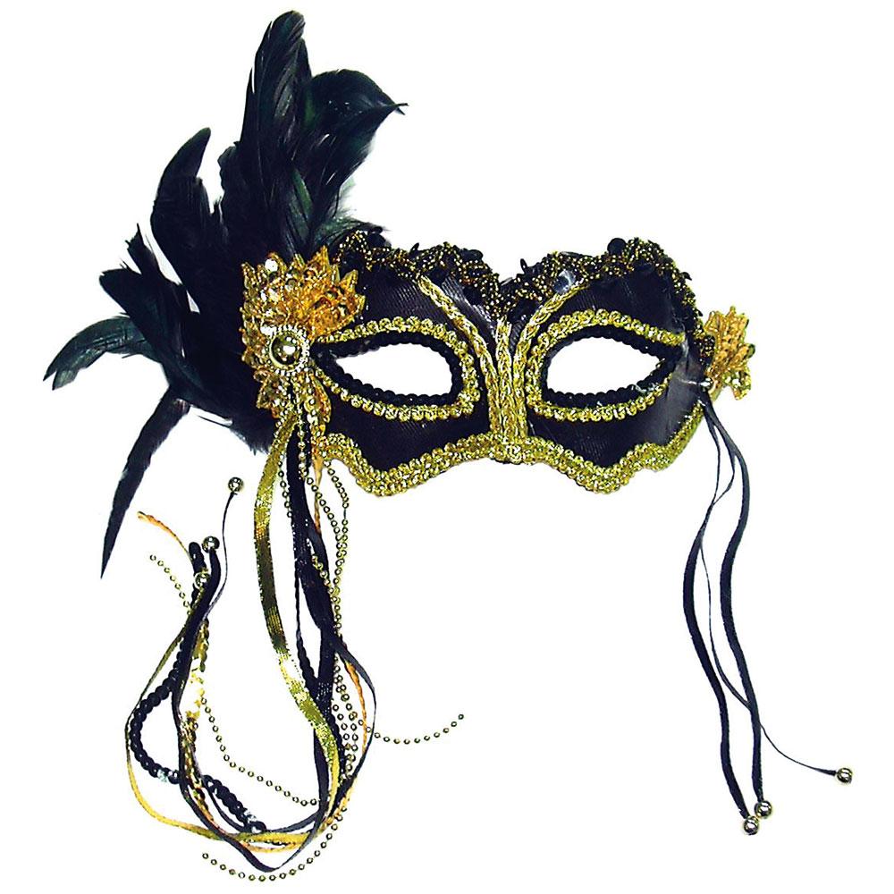 Venetiansk Ögonmask med Fjädrar Svartmetallic
