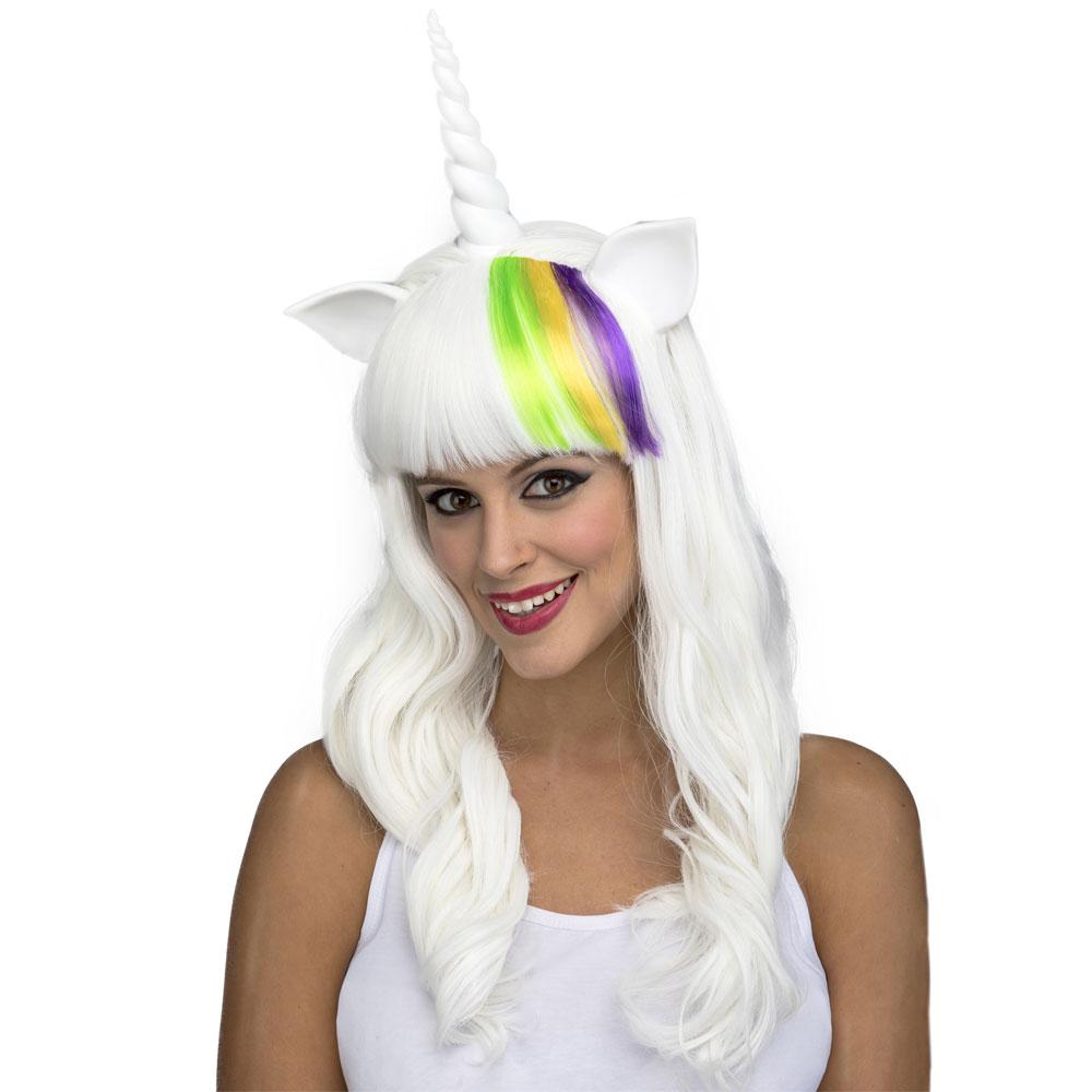 Vit Unicorn Peruk med Horn